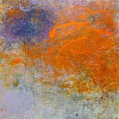 """Mazama 2"", Brenda Cirioni, acrylic, mixed media, abstract, orange, purple, gold"
