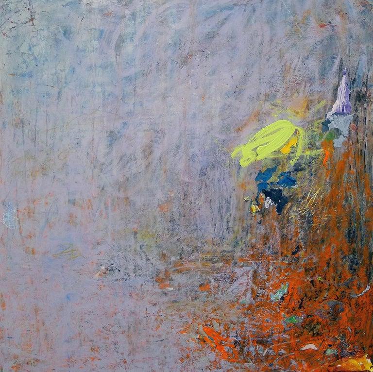 """Mazama 4"", abstract, acrylic, mixed media, painting, blue, red, lilac - Mixed Media Art by Brenda Cirioni"
