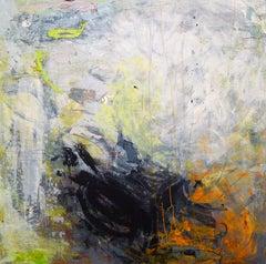 """Mazama 6"", Brenda Cirioni, acrylic, mixed media, abstract, green, blue, grey"