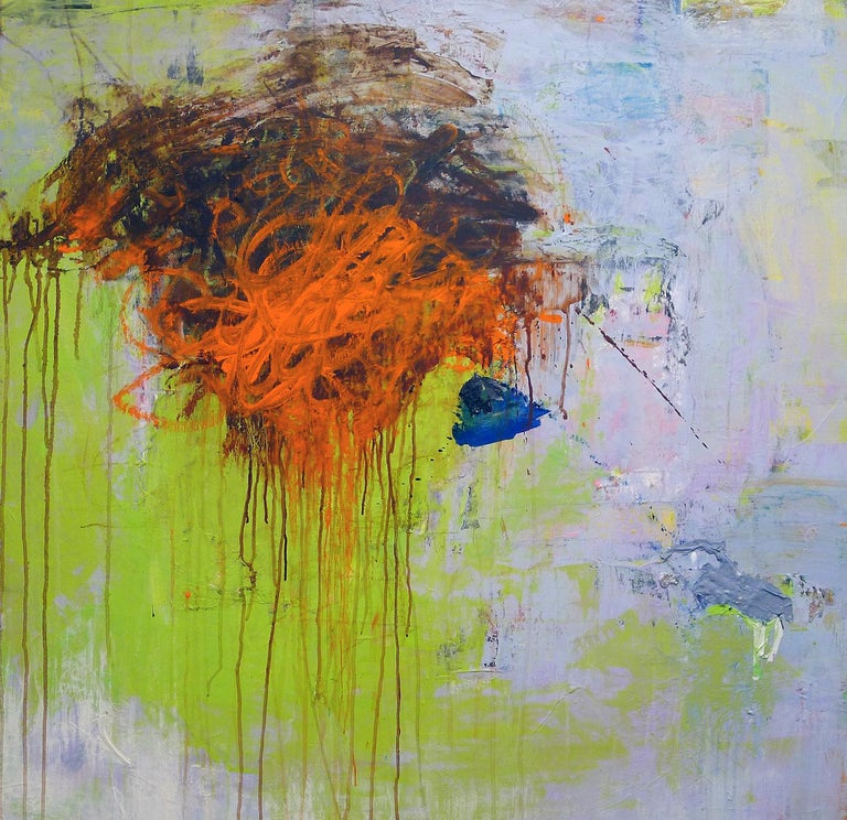 """Mazama 8"", acrylic, mixed media, painting, abstract, lime green, orange - Mixed Media Art by Brenda Cirioni"