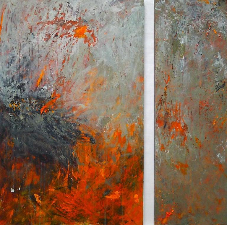 """""""Mazama 9"""", acrylic, mixed media, painting, abstract, grey, green, orange - Mixed Media Art by Brenda Cirioni"""