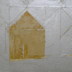 """Paper House"", Brenda Cirioni, mixed media, abstract, gold, silver"
