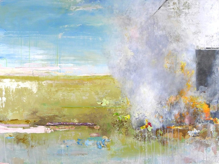 """Pink Sky"", acrylic, mixed media, painting, landscape, blue, green, orange - Mixed Media Art by Brenda Cirioni"