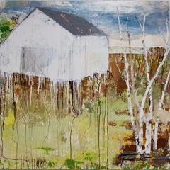 """White Hill"", Brenda Cirioni, acrylic, mixed media, landscape, earth tones, barn"