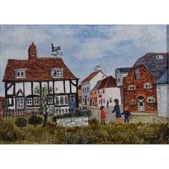 Brenda King, 'Berkshire Village' (1974) oil on board Naive Modern British Art