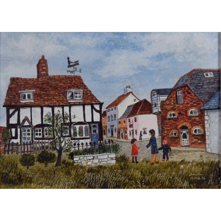 Brenda King, 'Berkshire Village' (1974) oil on board Naive Modern British Art - Painting by Brenda King