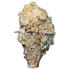 """""""Backtrack"""" Cream and Blue Abstract Contemporary Mixed Media Collage Sculpture"""