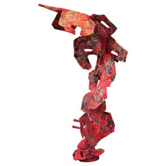 """""""Culture Counter"""" Red Abstract Contemporary Mixed Media Collage Sculpture"""