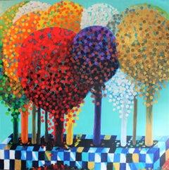 Fantasy Tree Garden, Mixed Media on Canvas