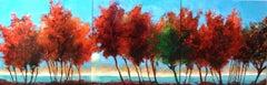 Fall Morning, Painting, Acrylic on Metal