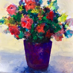 Purple Vase Floral, Painting, Acrylic on Wood Panel