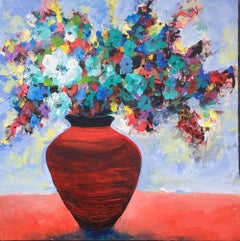 Red Pot Floral, Painting, Acrylic on Canvas