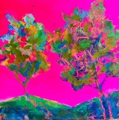 Trees On Majenta Background, Painting, Acrylic on Wood Panel