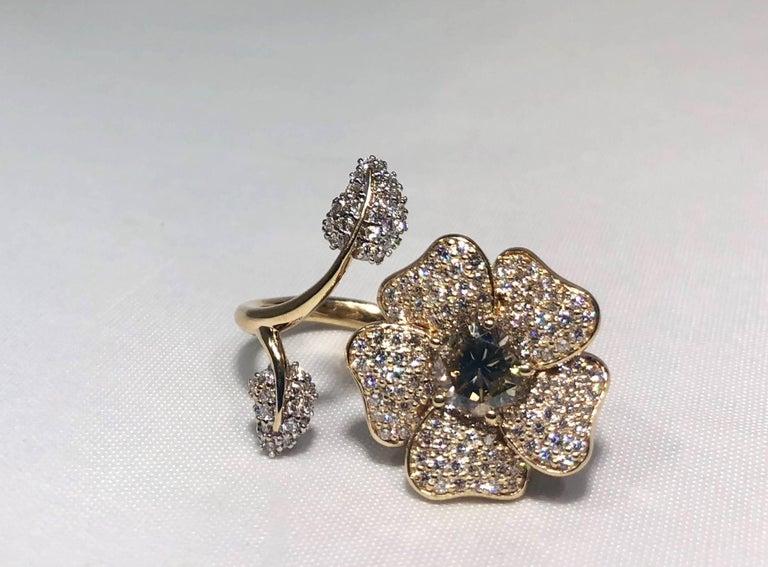 Artist Brent Kehrle Custom 14 kt 2 tone 1.20 carat fancy Round Diamond Cocktail Ring For Sale