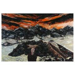 Brent Shegog 'Australian' Oil on Canvas Man and Boat