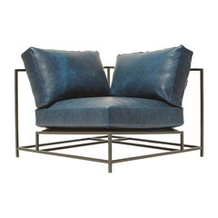 Brentwood Navy and Blackened Steel Corner Chair