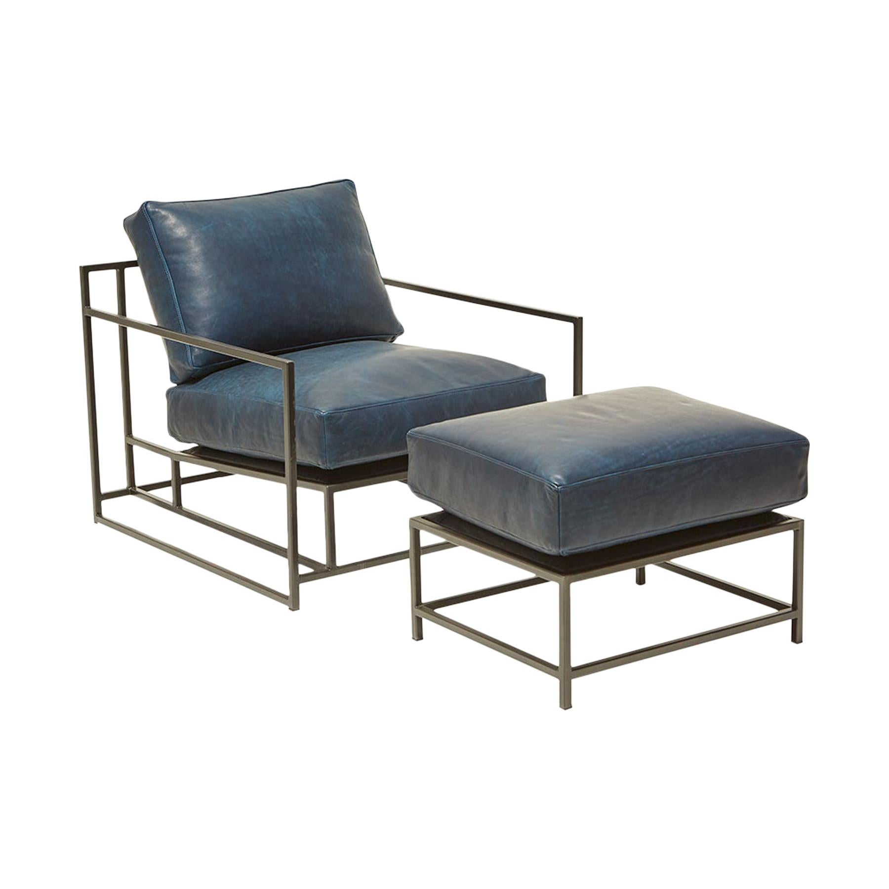 Brentwood Navy Leather and Blackened Steel Armchair and Ottoman Set