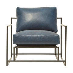 Brentwood Navy Leather and Blackened Steel Armchair