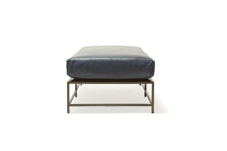 Modern Brentwood Navy Leather and Blackened Steel Extra Large Bench For Sale