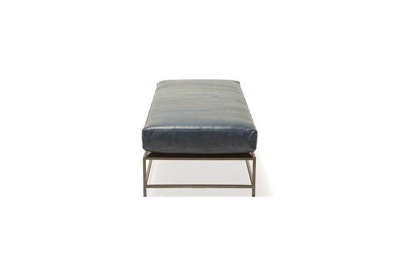 American Brentwood Navy Leather and Blackened Steel Extra Large Bench For Sale