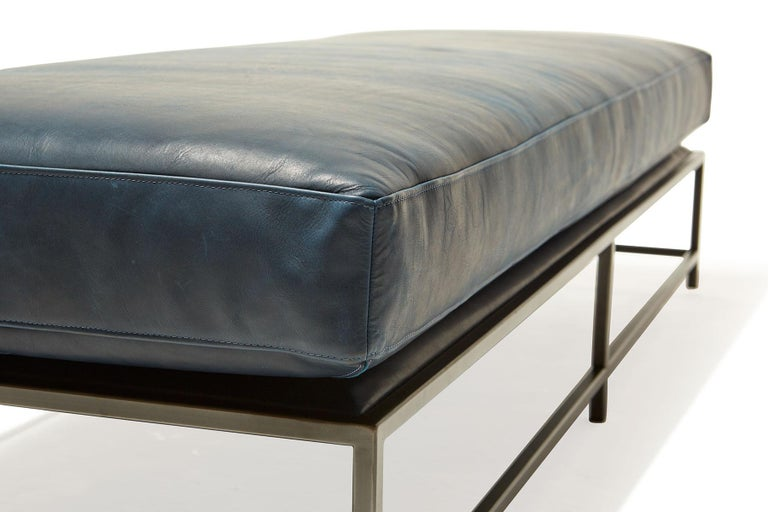 Brentwood Navy Leather and Blackened Steel Extra Large Bench In New Condition For Sale In Los Angeles, CA