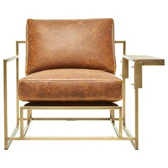 Brentwood Tan Leather and Antique Brass Armchair and Walnut Wing Table