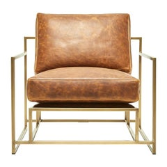 Brentwood Tan Leather and Antique Brass Armchair
