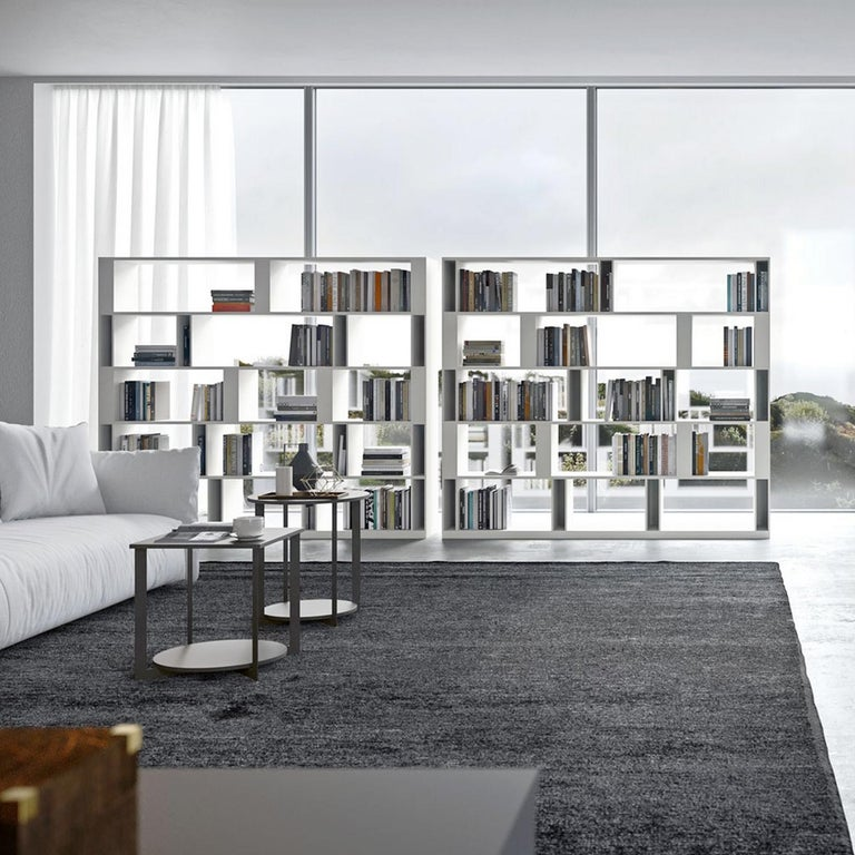This bookcase main peculiarity are some vertical elements which break the linear continuity of the shelves.  They have both a structural and a containing function. The position of these vertical elements is fixed and already foreseen on the