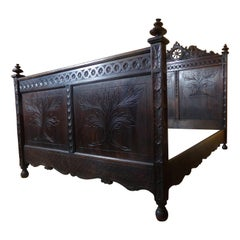 Breton Carved Double Bed, C1890