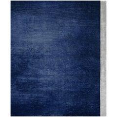 Breton Deep Blue - Contemporary Plain Hand Knotted Bamboo Silk Rug