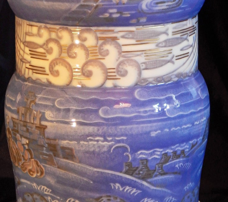 """Mid-20th Century """"Breton Fishing Village,"""" Masterpiece Art Deco Vase by Leduc for Sevres, 1934 For Sale"""