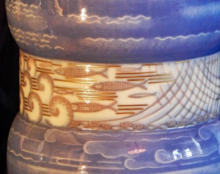 "Porcelain ""Breton Fishing Village,"" Masterpiece Art Deco Vase by Leduc for Sevres, 1934 For Sale"