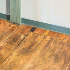 Hallway Floor, Interior Scene, Woodgrain Floorboards, Teal Baseboard, White Room