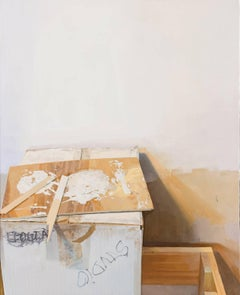 Indecision One,  Artist's Studio White and Brown Still Life White Paint