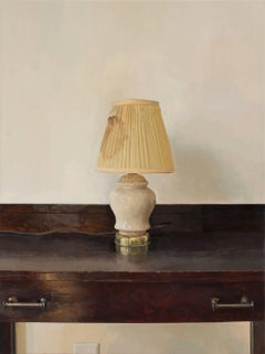Lamp Revisited, Still Life Painting of Lamp on Dark Brown Mahogany Wooden Desk