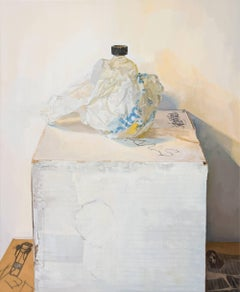 Leaking Linseed Bottle, Still Life Painting, Container in White Bag with Blue