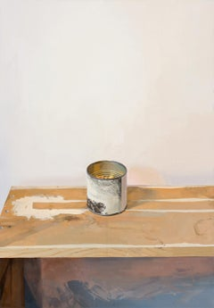 Rembrandt Canister, Still Life Painting, Tin Can, Brown Wood, White Wall