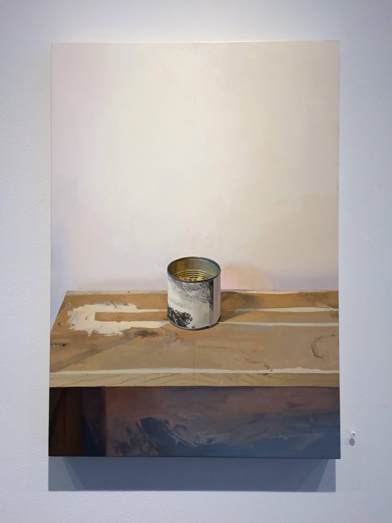 Rembrandt Canister, Still Life Painting with Can and Table in White, Grey, Brown For Sale 1