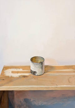 Rembrandt Canister, Still Life Painting with Can and Table in White, Grey, Brown