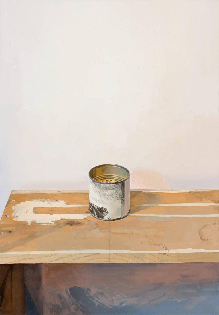 Brett Eberhardt Still-Life Painting - Rembrandt Canister, Still Life Painting with Can and Table in White, Grey, Brown