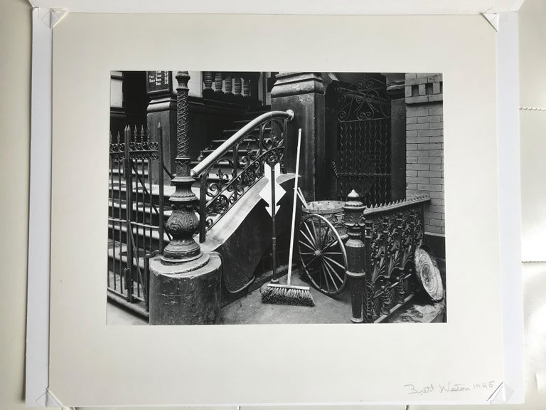 Stairway & Broom, New York Steps 1945 Vintage Photograph For Sale 1