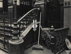 Stairway & Broom, New York Steps 1945 Vintage Photograph