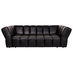 Bretz Chocolat Leather Sofa Black Four-Seat Couch