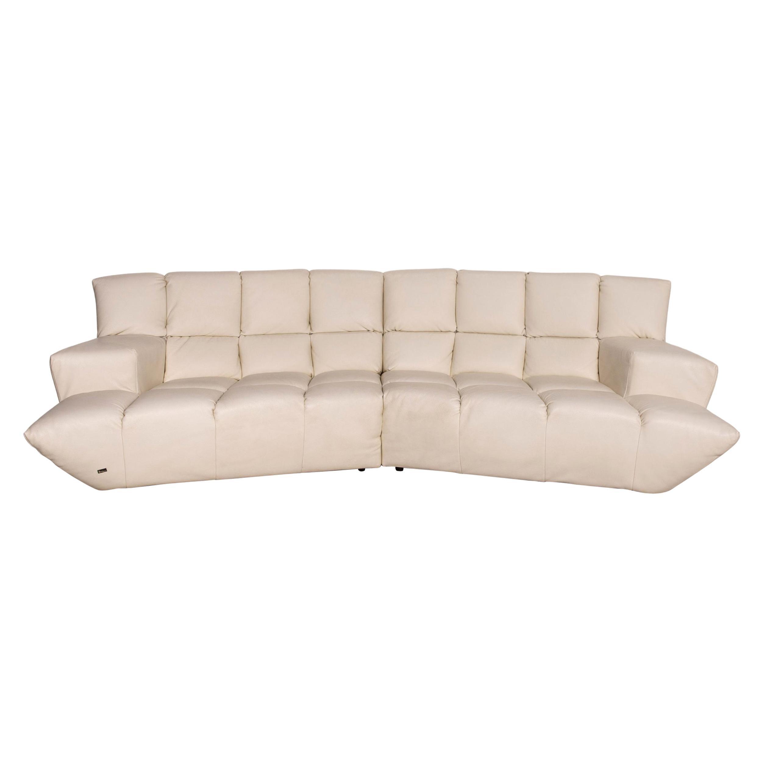 Bretz Cloud 7 Leather Corner Sofa Cream Couch