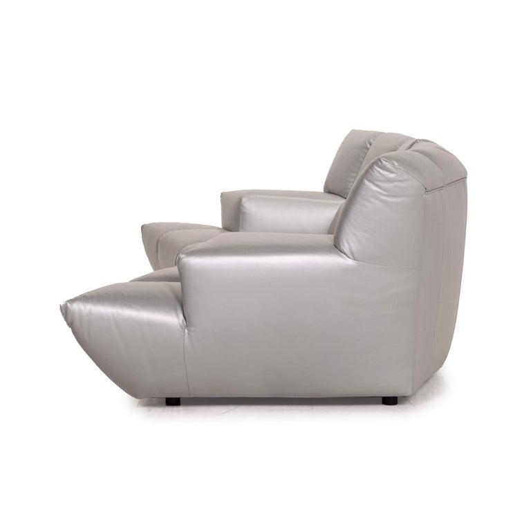 Bretz Cloud 7 Leather Sofa Silver For Sale 4