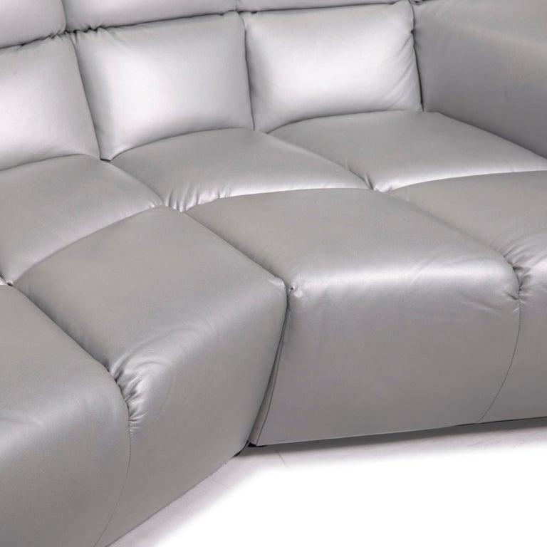 Modern Bretz Cloud 7 Leather Sofa Silver For Sale