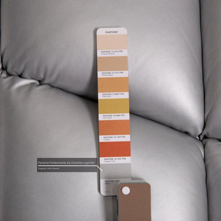 German Bretz Cloud 7 Leather Sofa Silver For Sale
