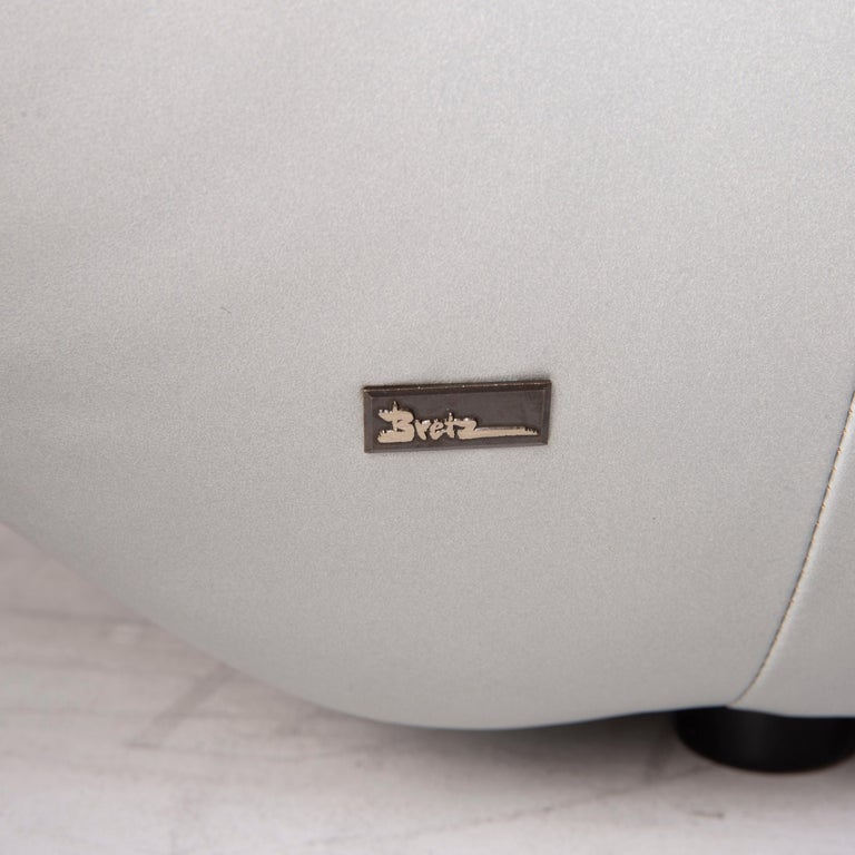 Bretz Cloud 7 Leather Sofa Silver In Good Condition For Sale In Cologne, DE