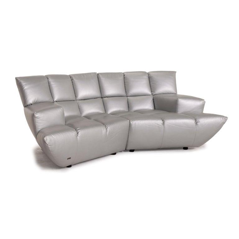 Contemporary Bretz Cloud 7 Leather Sofa Silver For Sale