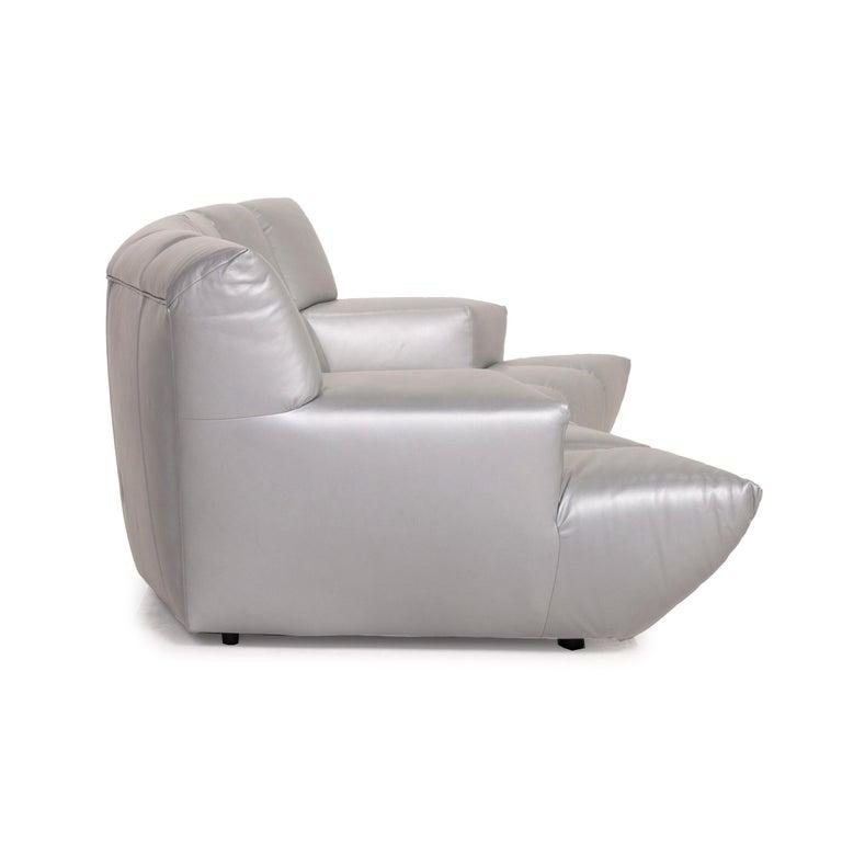 Bretz Cloud 7 Leather Sofa Silver For Sale 2